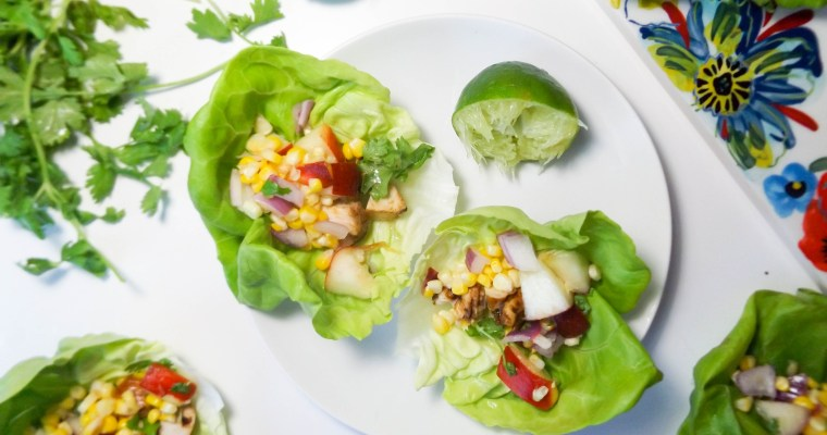 Chicken Lettuce Wraps with Peach Corn Salsa