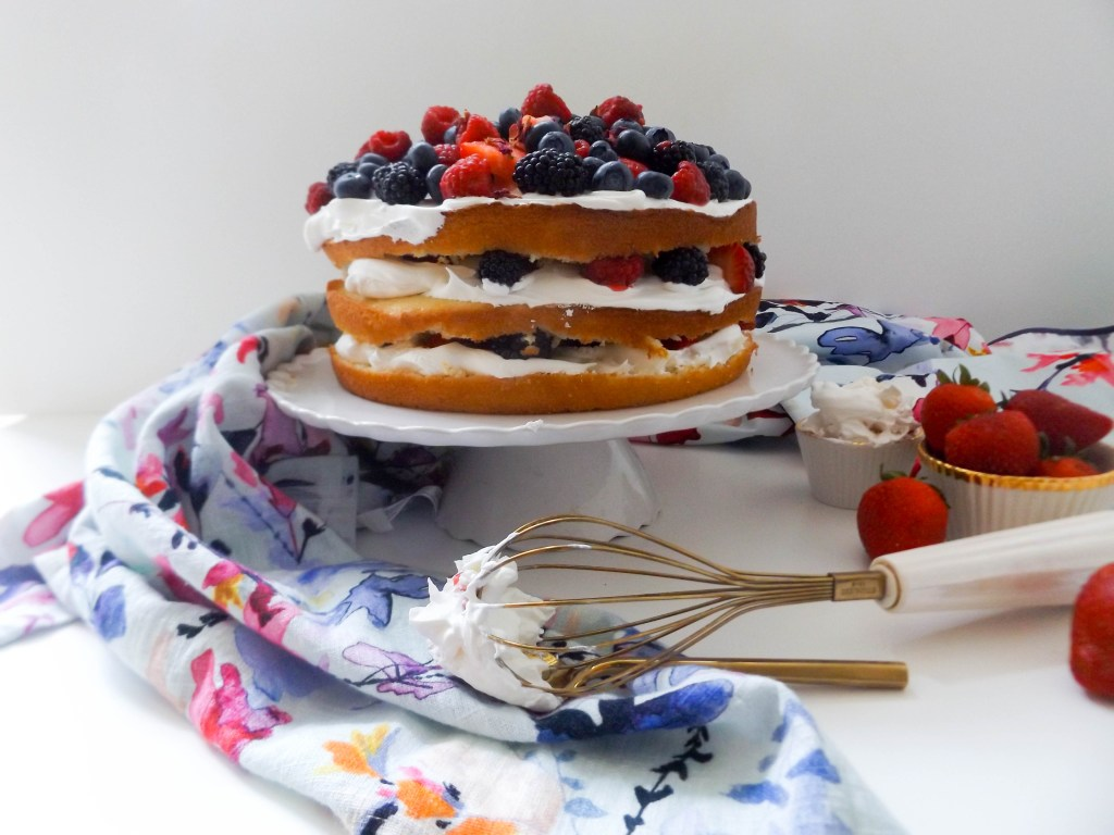 Berries and Cream Fourth of July Cake
