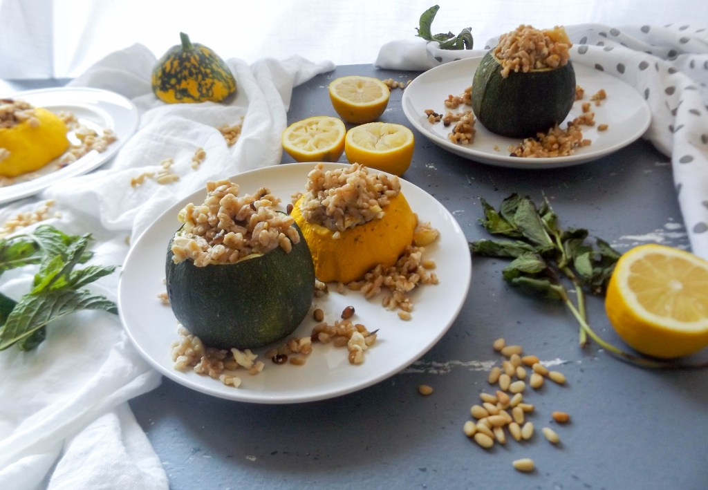 Stuffed Summer Squash with Lemon, Mint, and Feta Farro