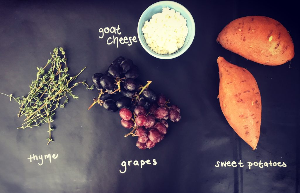 Roasted Grapes & Goat Cheese Sweet Potatoes