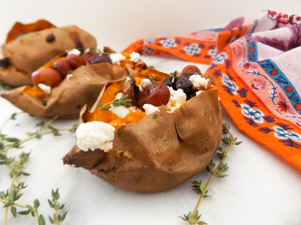 Roasted Grape & Goat Cheese sweet potatoes