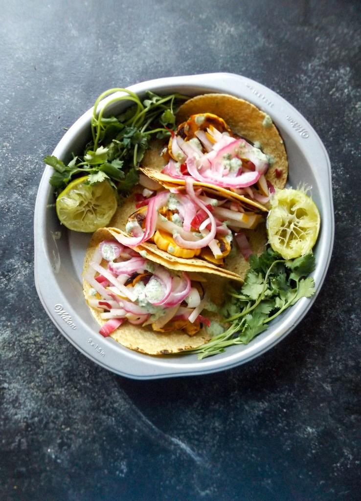 Honeynut Squash Tacos with Pear Raddichio Slaw