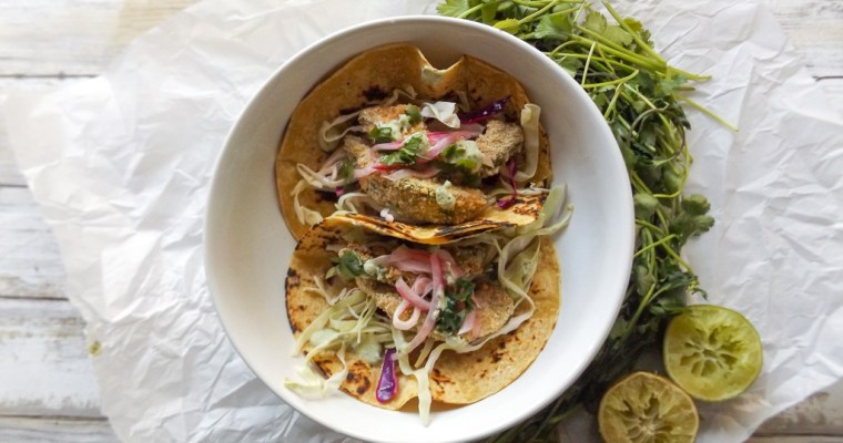 Baked Avocado Tacos with Cabbage Slaw