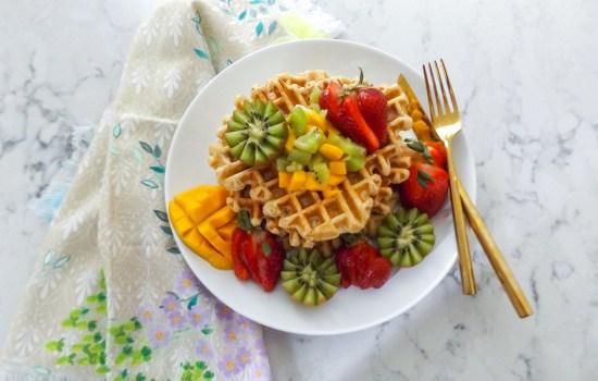 Whole Wheat Waffle with Kiwis, Strawberries, & Mango