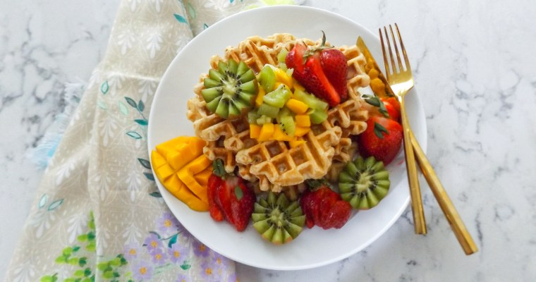 Whole Wheat Waffle with Kiwis, Strawberries, & Mango
