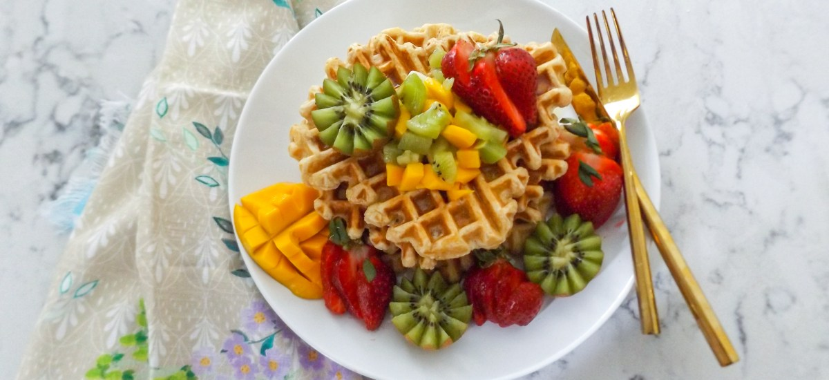 Whole Wheat Waffles with Kiwi, Strawberries, and Mango