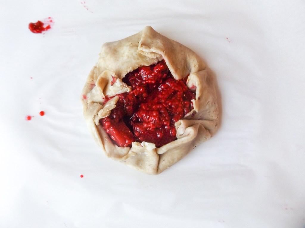 raspberry rhubarb rose galette