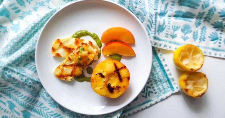 Grilled Nectarines & Halloumi