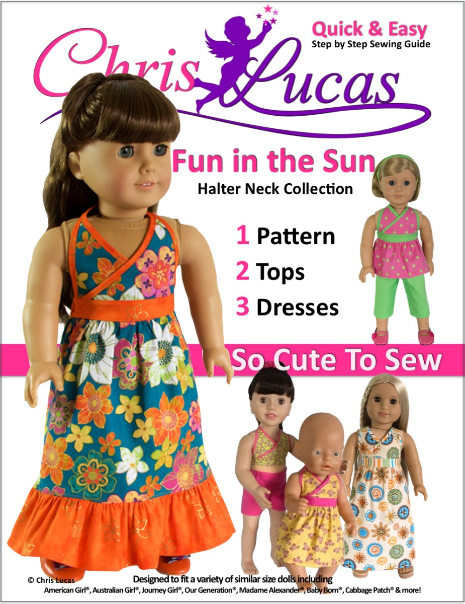 American Girl Doll Sewing Patterns Fun In The Sun Halter Neck Pdf Doll Sewing Pattern For 15 18