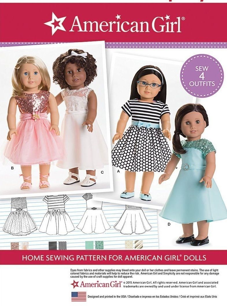 American Girl Doll Sewing Patterns Simplicity 8282 Sewing Pattern For 18 American Girl Doll Clothes 4