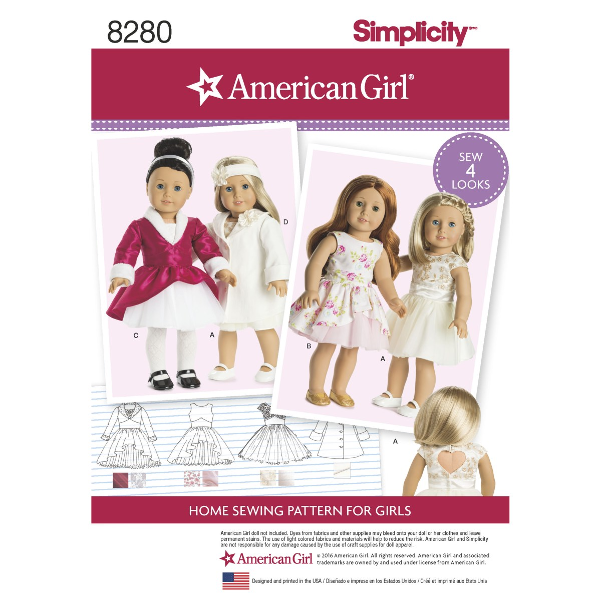 American Girl Doll Sewing Patterns Simplicity Simplicity Pattern 8280 American Girl 18 Doll Clothes