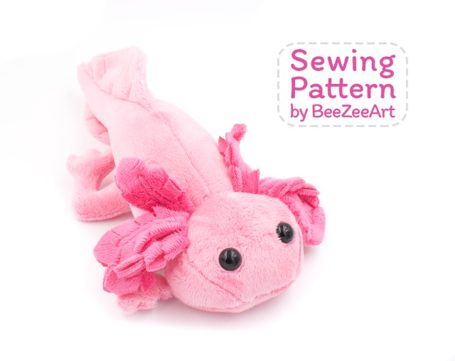 Animal Sewing Patterns Axolotl Stuffed Animal Sewing Pattern Digital Download Axolotl