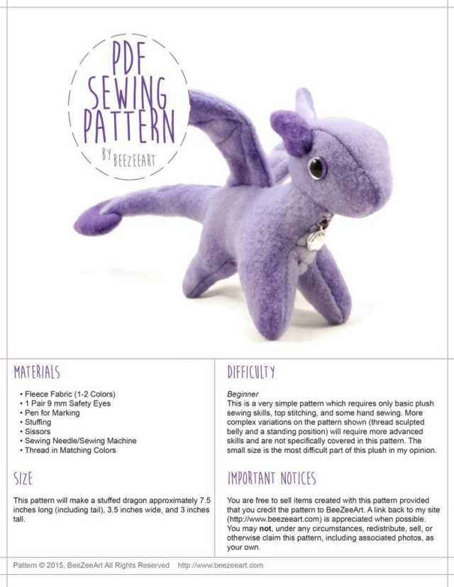 Animal Sewing Patterns Tiny Dragon Stuffed Animal Sewing Pattern Digital Download