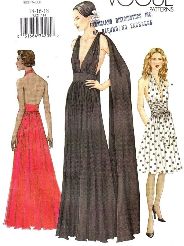 Ball Gown Sewing Patterns Vtg Uc Vogue Pattern 7521 Backless Evening Gown Plunge Halter Dress
