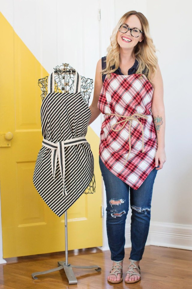 Beginner Sewing Patterns Easy Square Aprons Tutorial How To Sew An Apron Pinterest