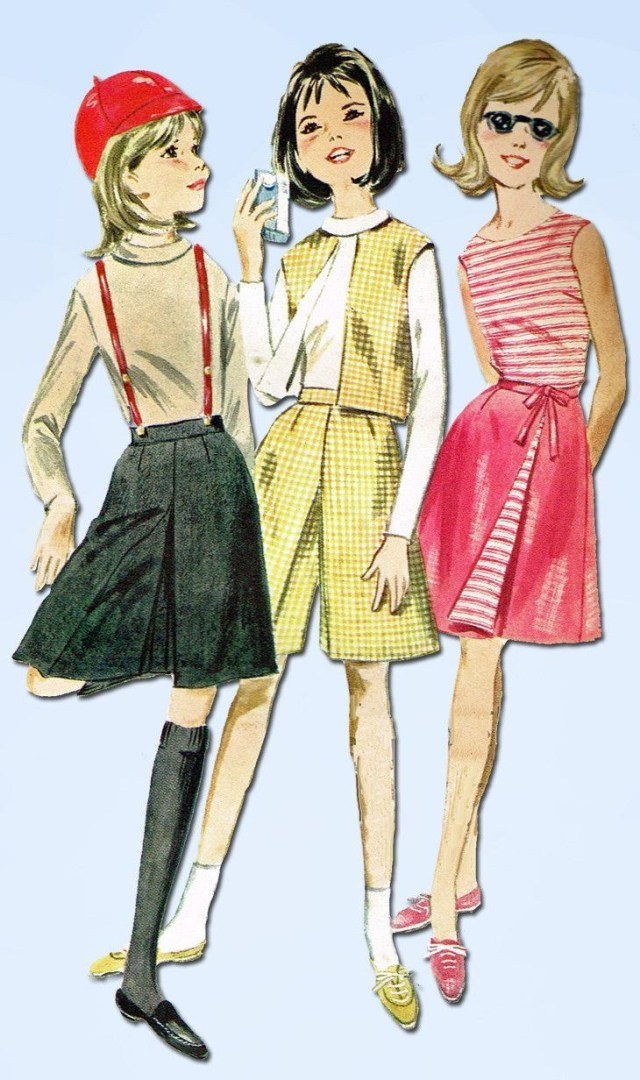 Butterick Sewing Patterns 1960s Vintage Butterick Sewing Pattern 2963 Ff Girls Culotte Wrap