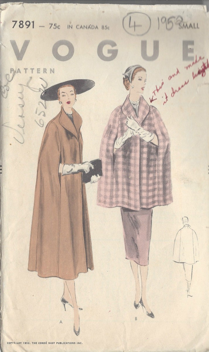 Cape Sewing Pattern 1952 Vintage Vogue Sewing Pattern Cape B30 32 R709 The Vintage