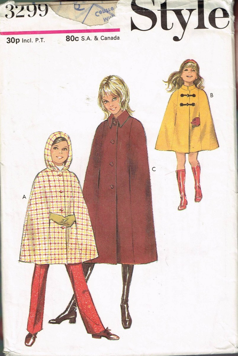 Cape Sewing Pattern Girls Size 12 Vintage Cape Sewing Pattern Cape With Hood Etsy