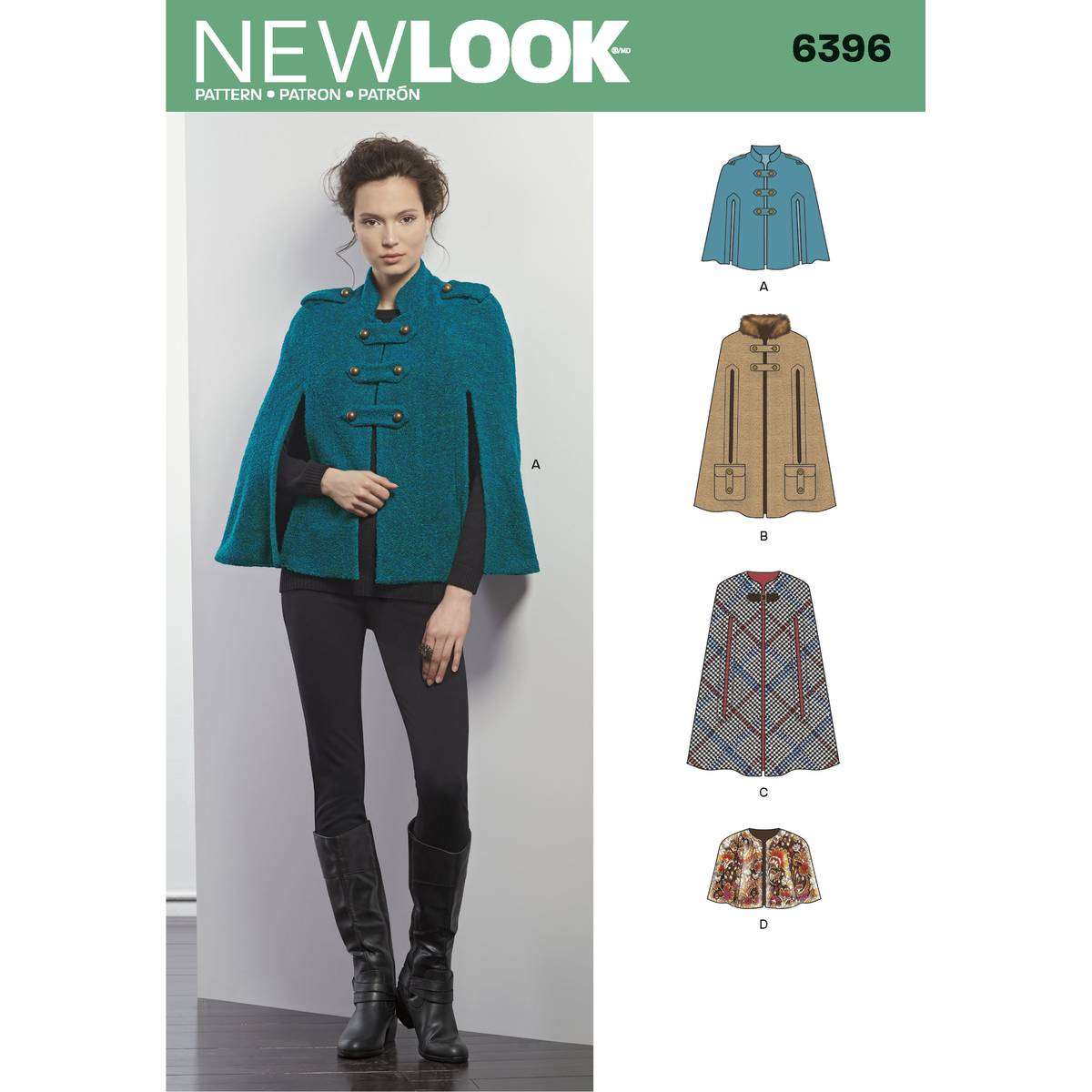 Cape Sewing Pattern New Look Womens Cape And Capelet Sewing Pattern 6396 Hobcraft