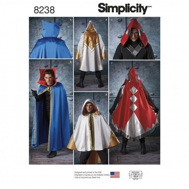 Cape Sewing Pattern Simplicity Sewing Pattern 8238 Os Misses Mens And Teens Cape