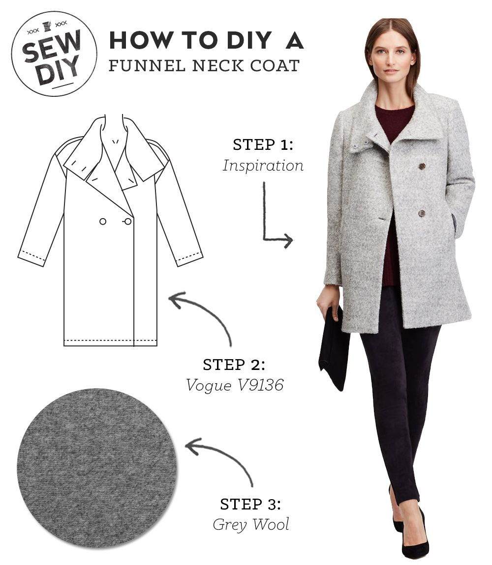 Cardigan Pattern Sewing Diy Diy Outfit Funnel Neck Coat Sewing Pinterest Diy Clothes