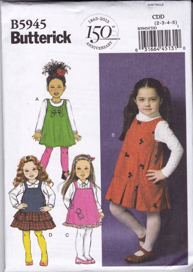 Childrens Sewing Patterns Butterick Easy Sewing Pattern Children S Girl S Jumper Pinafore