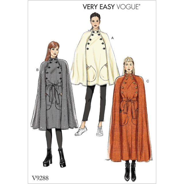Cloak Sewing Pattern Misses Cape With Stand Collar Pockets And Belt Vogue Sewing