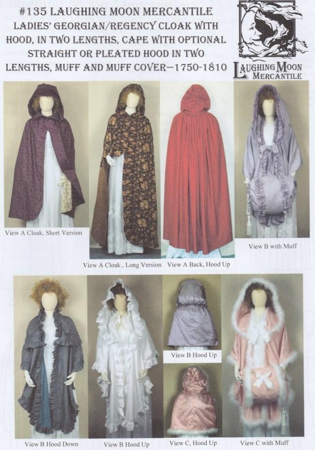 Cloak Sewing Pattern Old Time Patterns Laughing Moon 135 Ladys Georgian Or Regency
