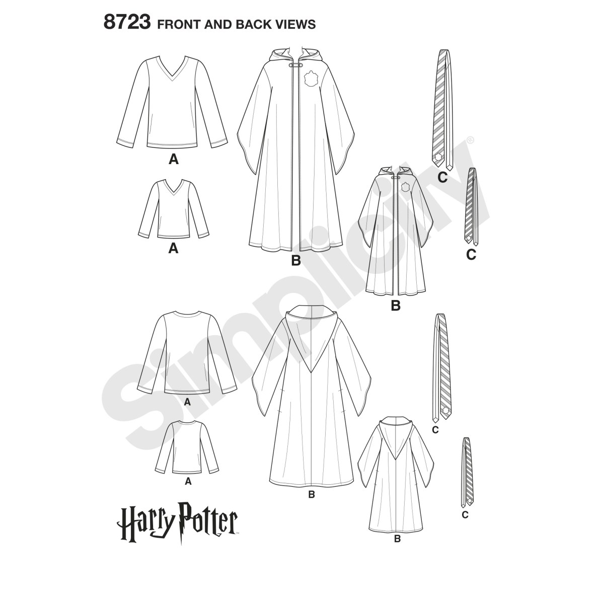 Cloak Sewing Pattern Simplicity Pattern 8723 Harry Potter Unisex Costumes