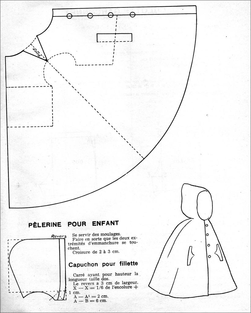 Cloak Sewing Pattern The 1950s 1951 Kids Hooded Cloak Cloaks Capes And Hoods