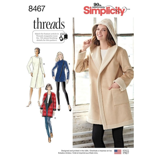 Coat Sewing Patterns Misses Coat Or Jacket With Neckline Variations Simplicity Sewing
