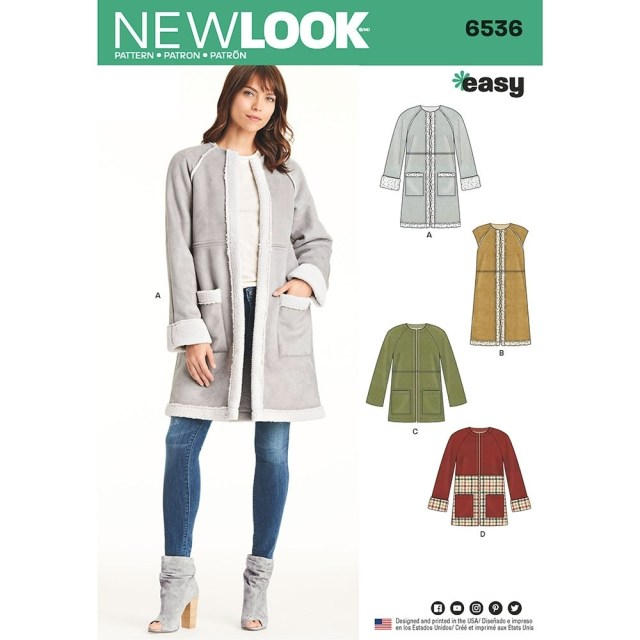 Coat Sewing Patterns Misses Easy Coat In Two Lengths New Look Sewing Pattern 6536 Sew