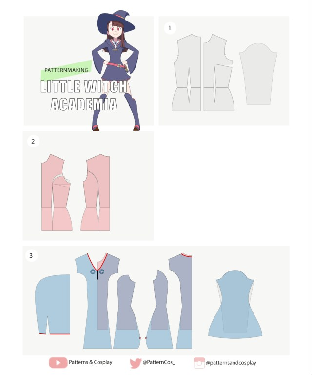 Cosplay Sewing Patterns Akko Little Witch Academia Cosplay Sewing Pattern Tutorial