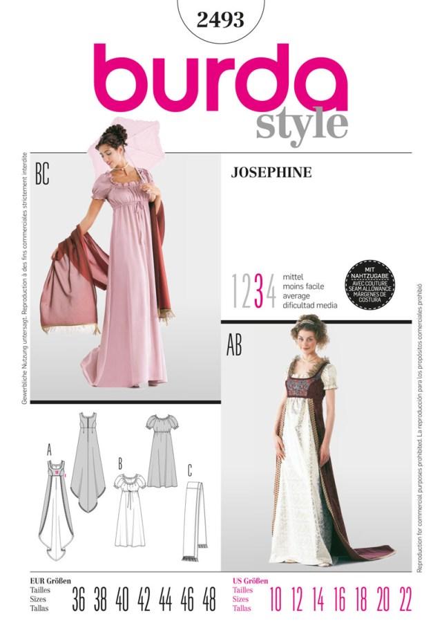 Cosplay Sewing Patterns Burda Style B2493 Josephine Costume Sewing Pattern