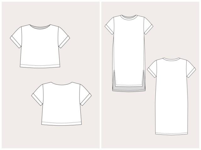 Crop Top Sewing Pattern Named Clothing 06 061 Inari Tee Dress Crop Tee Downloadable Pattern