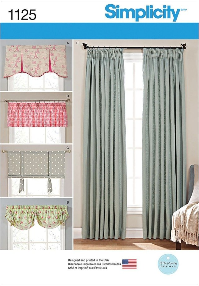 Curtain Sewing Patterns Simplicity Window Treatments One Size Us1125os Verticalblindshack