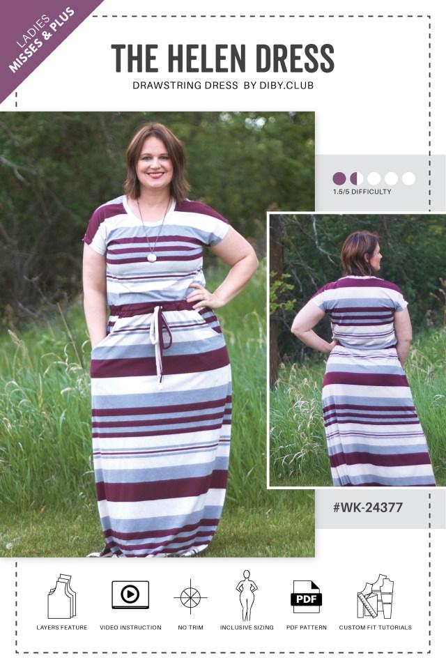 Custom Sewing Patterns The Helen Womens Drawstring Dress Pdf Sewing Pattern Di Club