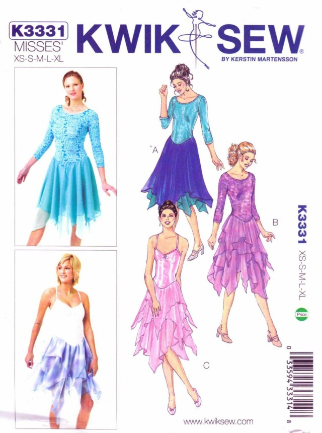 Dance Skirt Sewing Pattern Kwik Sew Sewing Pattern 3331 Misses Size 6 22 Leotards Skirt Dance