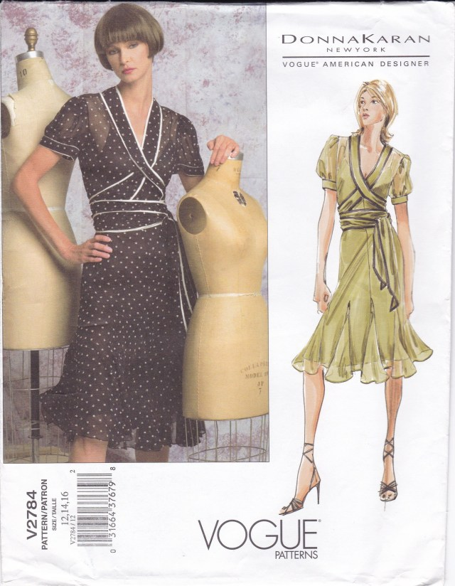 Designer Sewing Patterns Free Us Ship Vogue 2784 Donna Karan Designer Slip Dress Godets Wrap