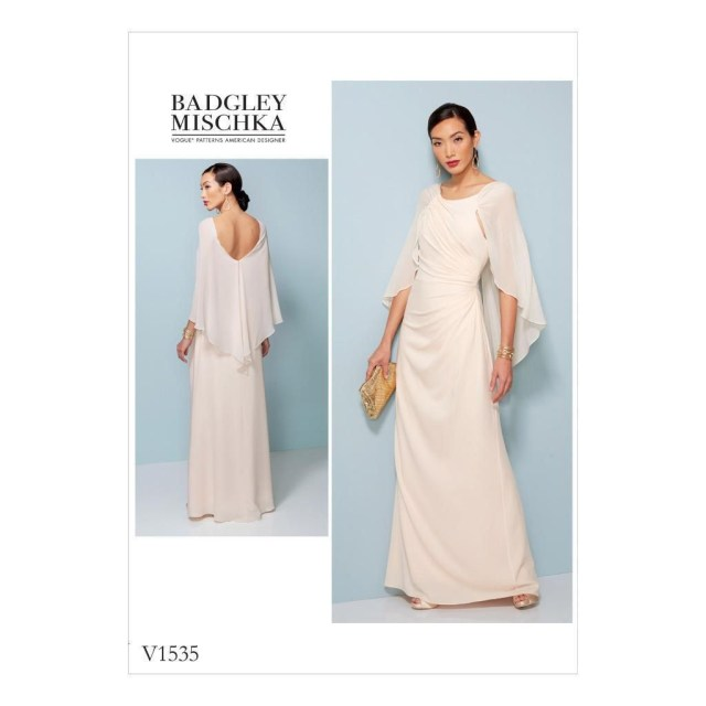 Designer Sewing Patterns Vogue Sewing Pattern Misses Designer Side Pleating Dress Cape Size