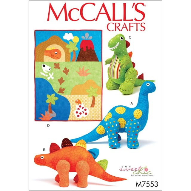 Dinosaur Sewing Pattern Dinosaur Plush Toys And Appliqued Quilt Mccalls Sewing Pattern 7553