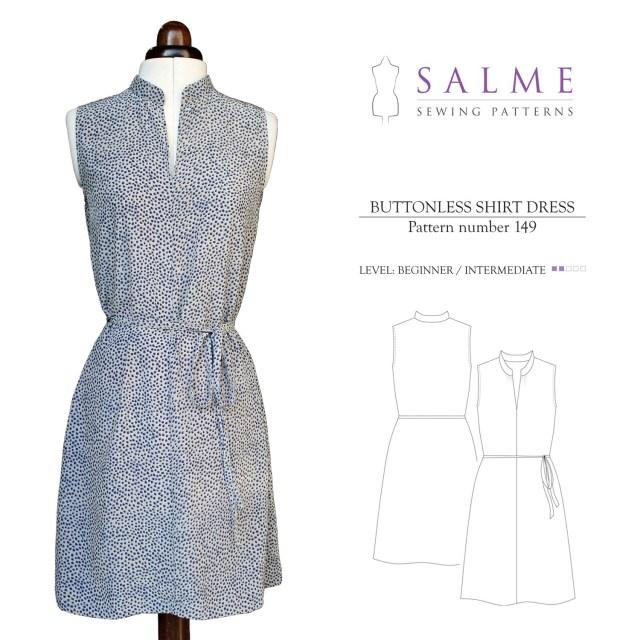 Dress Sewing Patterns Salme Sewing Patterns 149 Buttonless Shirt Dress Downloadable Pattern