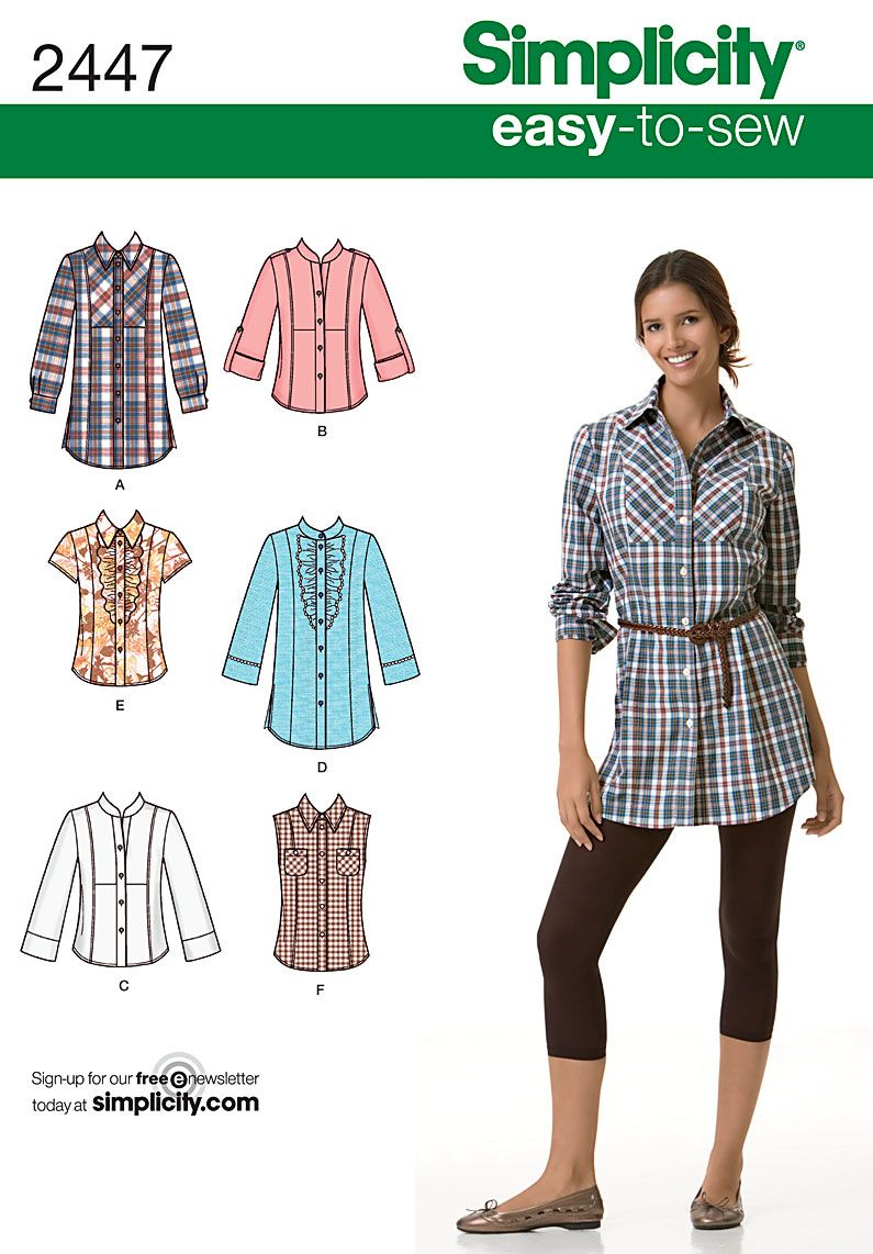 Easy Sew Patterns Womens Shirt Easy Sewing Pattern 2447 Simplicity Easy To Sew