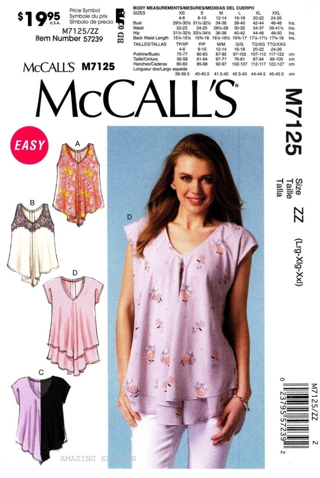 Easy Sewing Patterns Mccalls Sewing Pattern M7125 Womens L Xxl Easy Pullover Tops