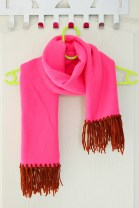 Fleece Sewing Projects Fleece Scarf Tutorial With Brown Yarn Fringe No Sew