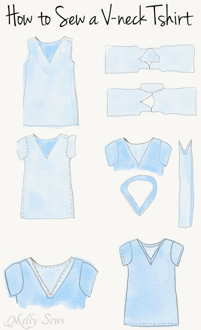 Free Patterns For Sewing Instructions Sew A V Neck Womens T Shirt Use This Free Pattern