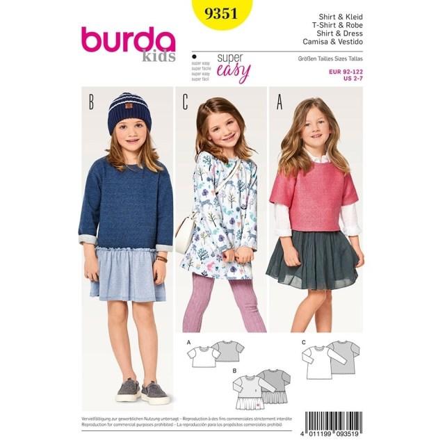 Girls Sewing Patterns Girls Shirt Dress Burda Sewing Pattern 9351 Sew Essential