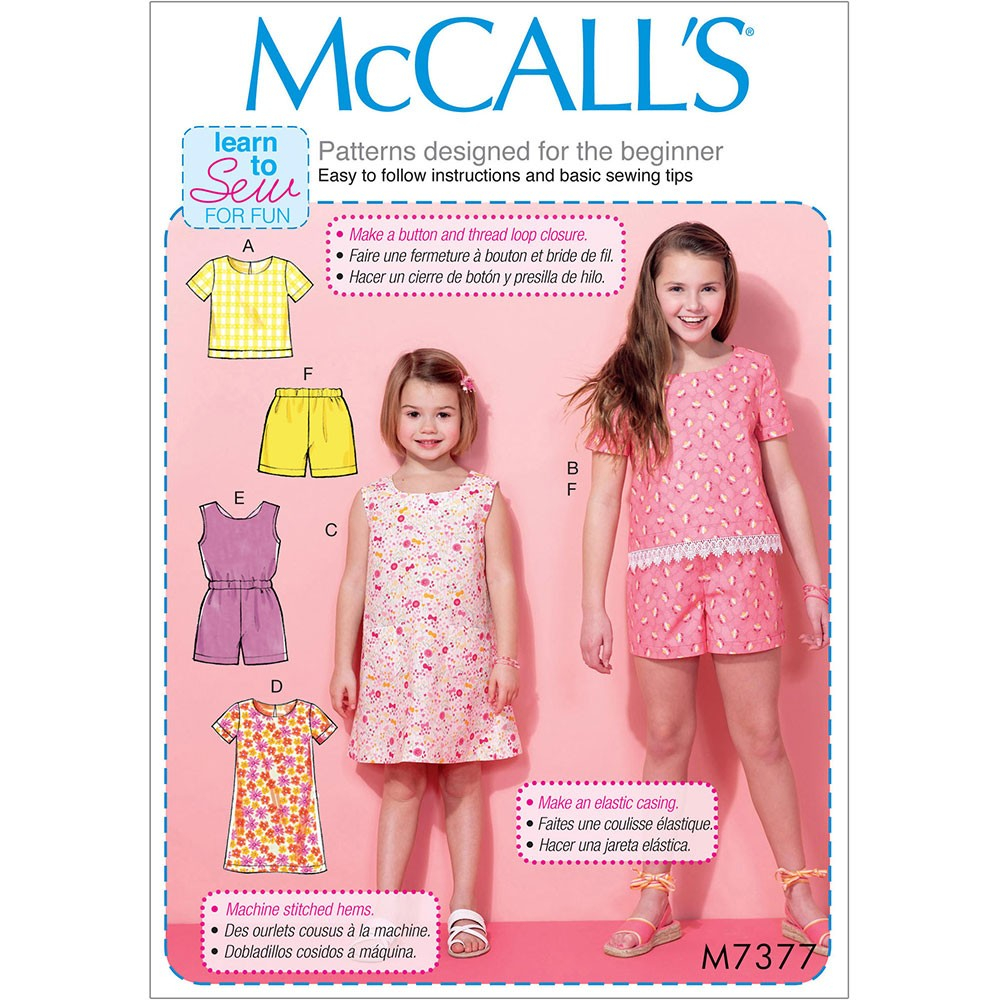 Girls Sewing Patterns Girls Tops Tent Dresses Blouson Bodice Romper And Shorts Mccalls
