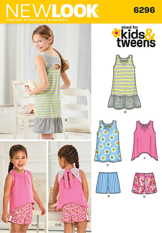 Girls Sewing Patterns New Look 6296 Childs And Girls Shorts And Knit Dress Or Top