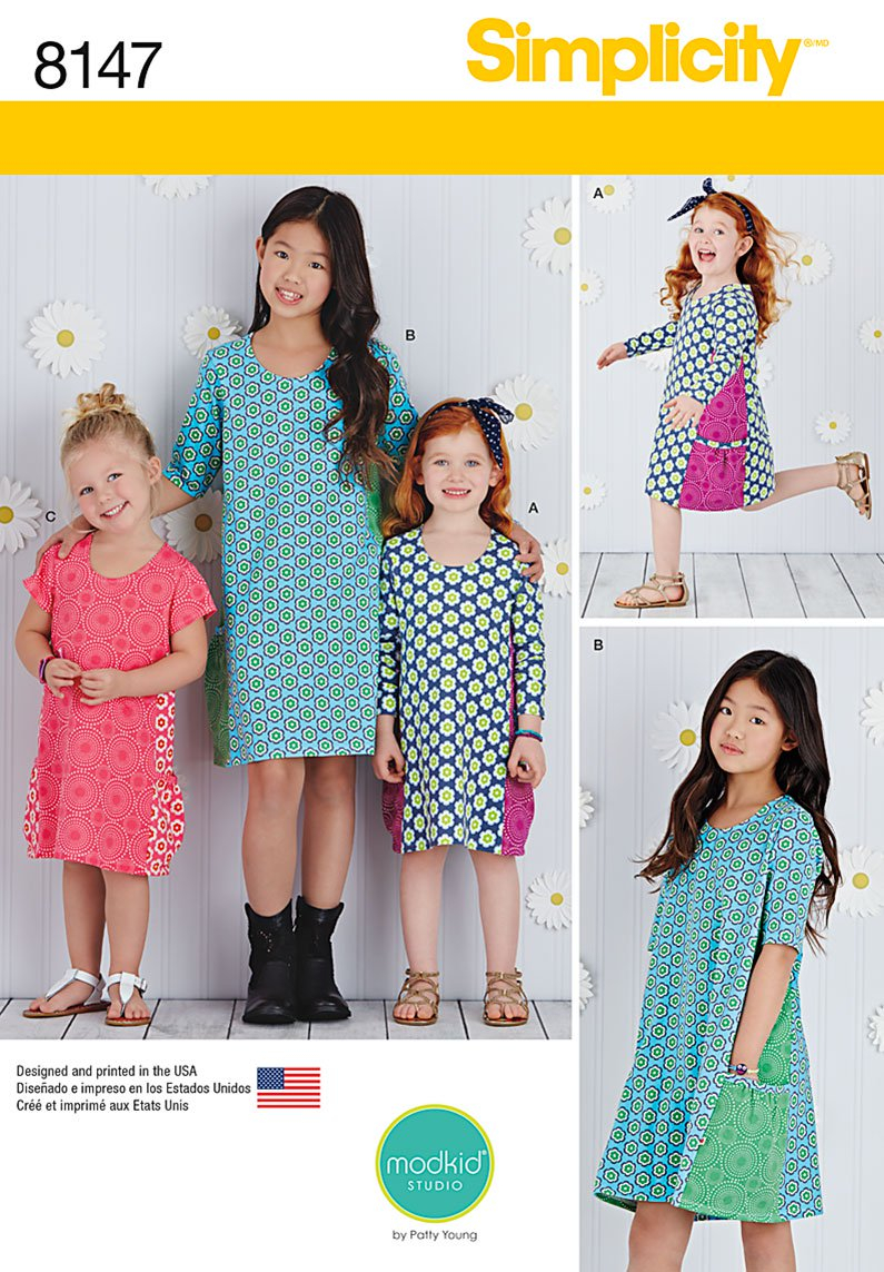 Girls Sewing Patterns Simplicity Simplicity Pattern 8147 Childs And Girls Knit Dresses